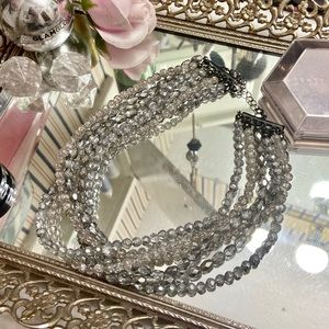 VTG Crystal Beaded Multistrand Necklace